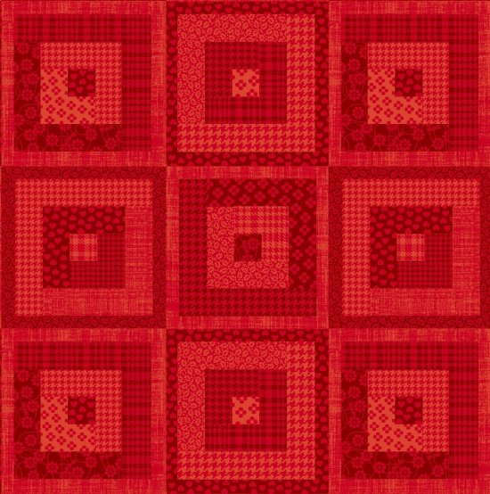 Pieceful Gathering Log Cabin in Red from Studio E Fabrics