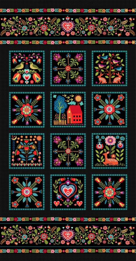 Pieceful Gathering Panel in Black/Teal from Studio E Fabrics