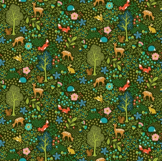 Pieceful Gathering Woodland Animals in Green from Studio E Fabrics