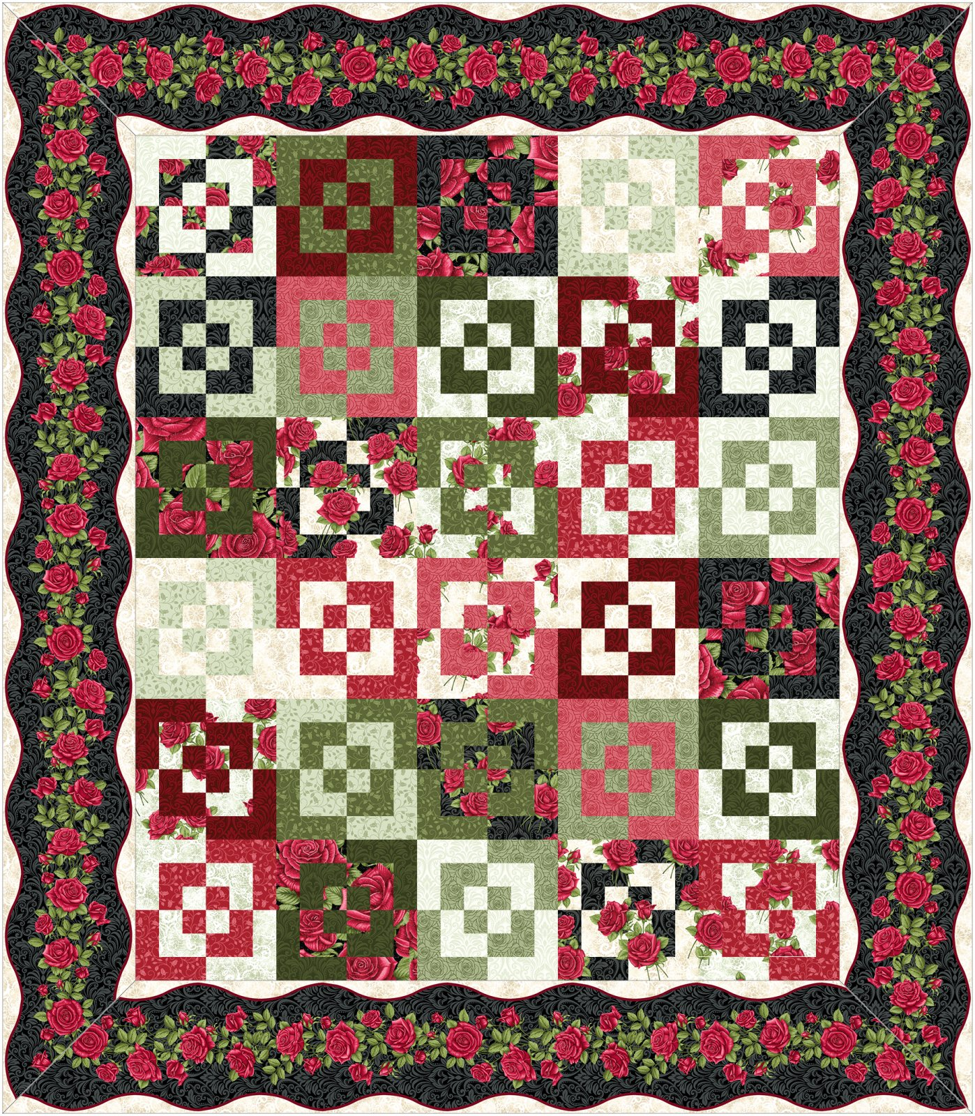 Round Squares Kit-Dark border-by Jackie Robinson of Animas Quilts