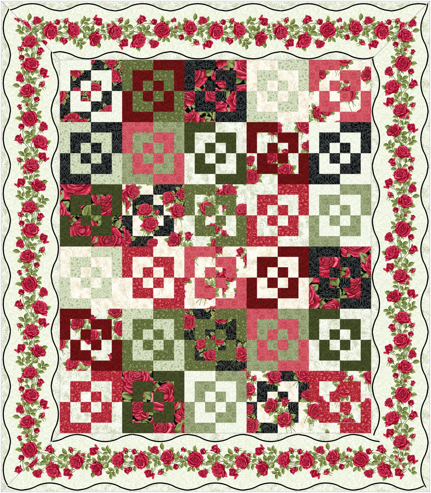 Round Squares Kit-Light border-by Jackie Robinson of Animas Quilts