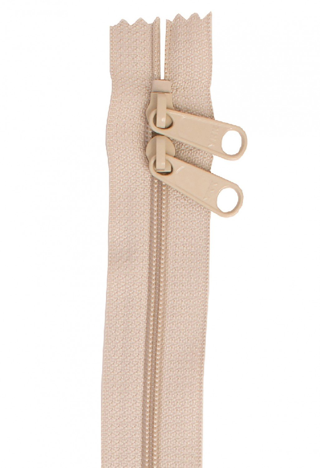 Handbag Zippers, 40 in Double Slide in Natural