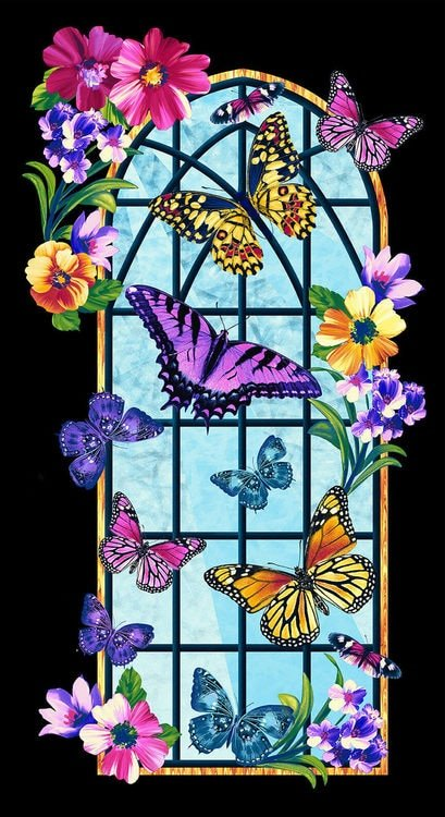 Studio E Butterfly Vortex Banner Panel 4810P-99