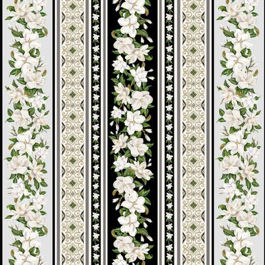 Blank Magnolia Mania Stripe 9850-99 Black
