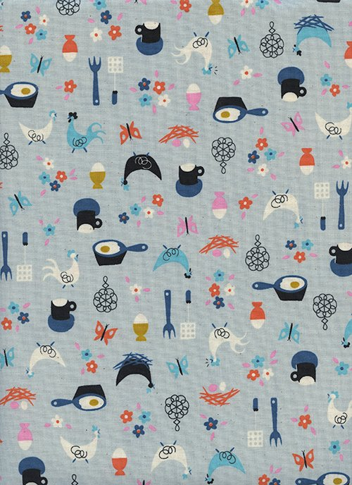 Welsummer - Kitchen Kitsch - Light Blue - 1-YARD-CUT