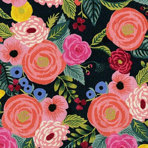 English Garden - Juliet Rose - Navy (Canvas)