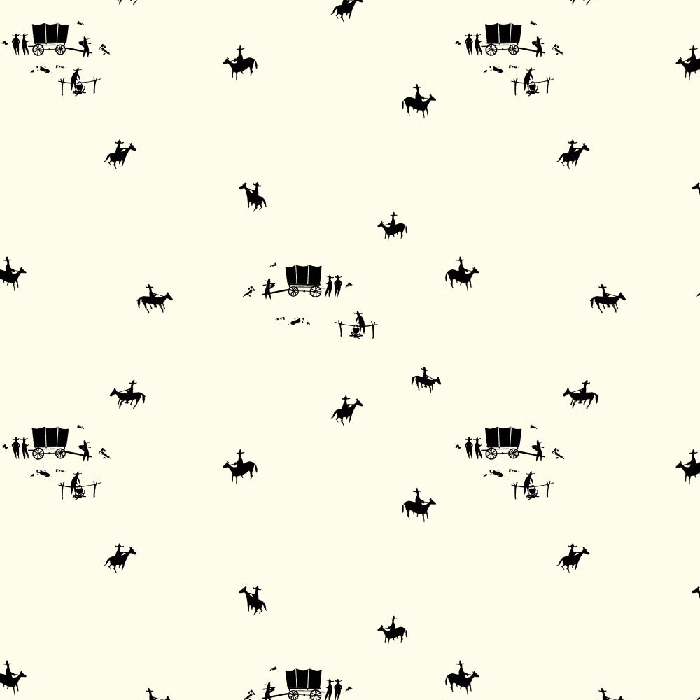 Charley Harper - New Frontier - Horse and Buggy - Cream