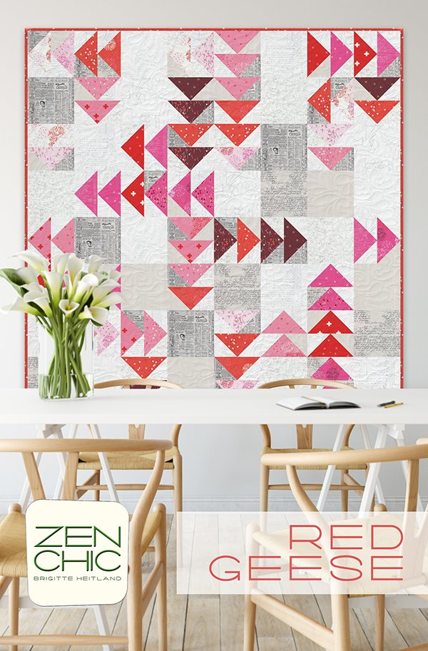 Pattern-Red Geese by Zen Chic