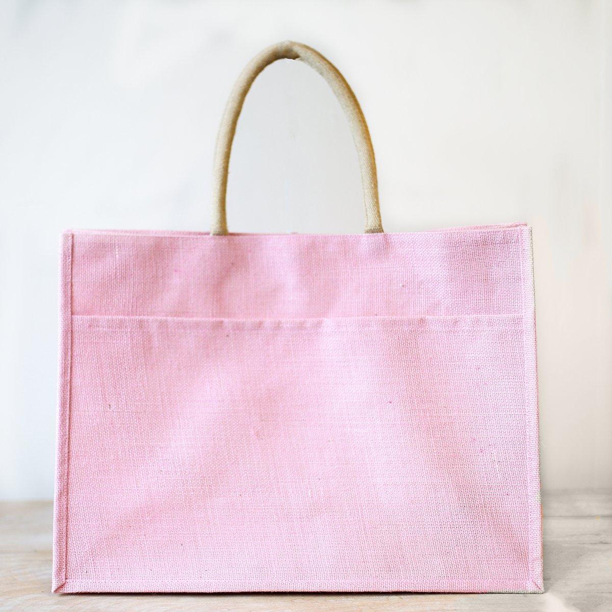 TRS Light Pink Jute Pocket Tote