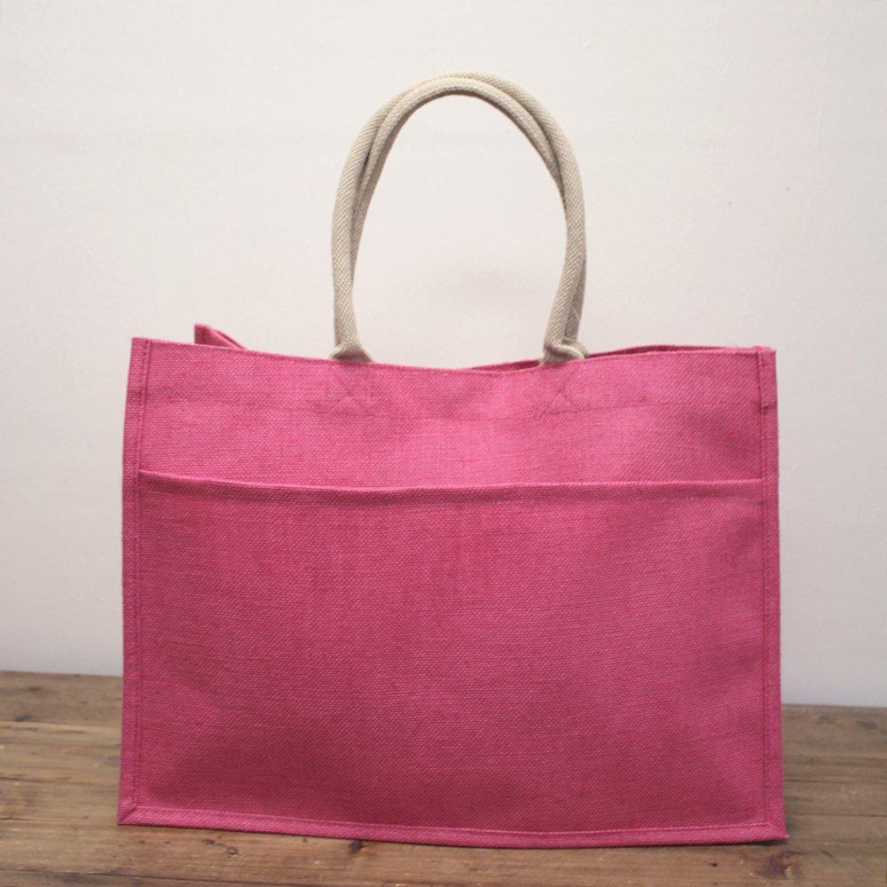 TRS Hot Pink Jute Pocket Tote