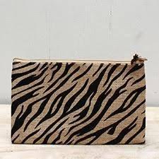 TRS Tiger Stripe Jute Cosmetic Bag Natural/Black