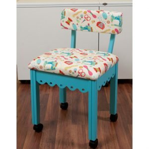 Arrow Blue Scallop Chair w/Black Sewing Notions Fabric