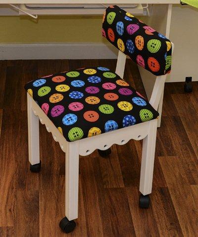 Arrow White Scallop Chair w/Button Fabric
