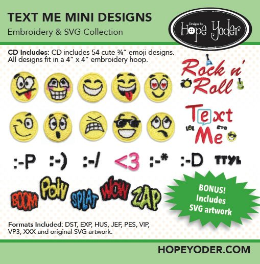 Hope Yoder Text Me Mini Designs Embroidery & SVG Collections
