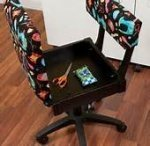 Arrow  Black Hydrolic Chair w/Black Button Fabric