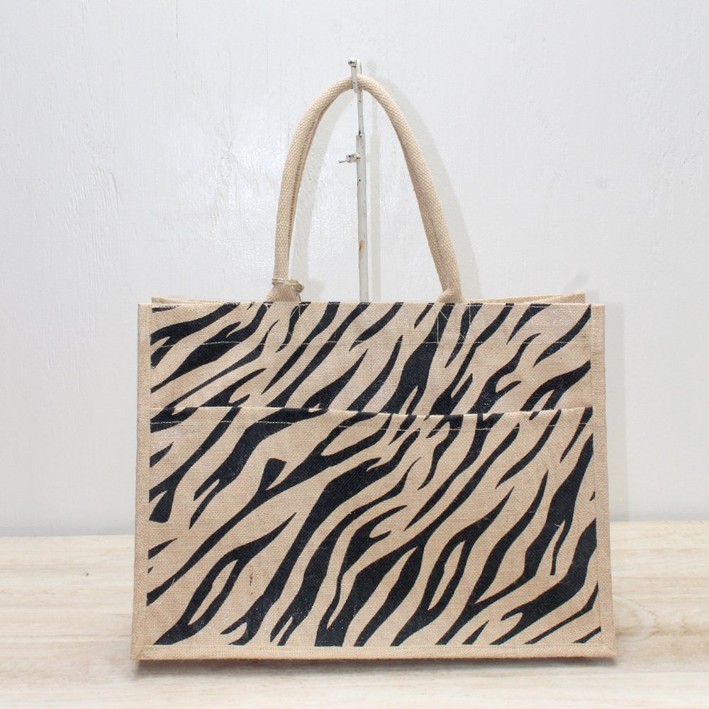 TRS Tiger Stripe Jute Pocket Tote Natural/Black