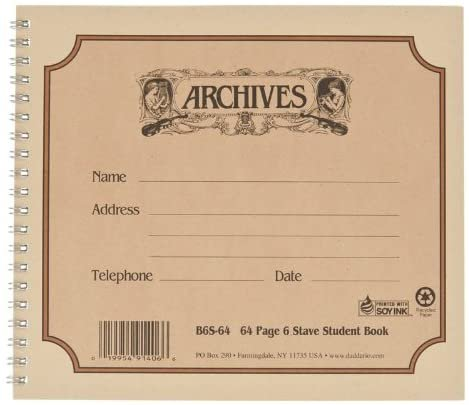 Archives Spiral Bound Manuscript Paper, 6 Staves, 64 Pages