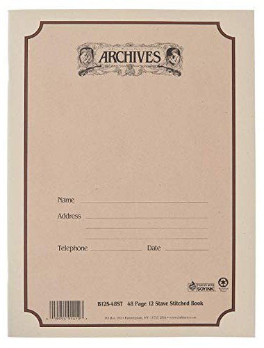 Archives Spiral Bound Manuscript Paper, 12 Staves, 48 Pages