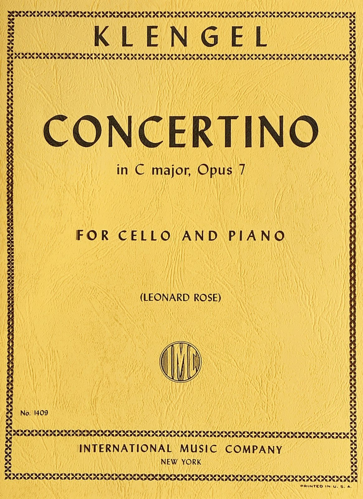Concertino in C major Op 7 - Klengel - Cello and Piano - Rose - International