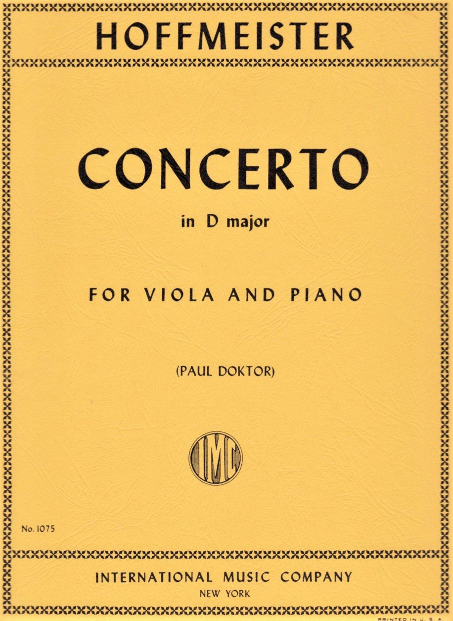 Concerto in D major - Hoffmeister - Viola and Piano - Doktor - International