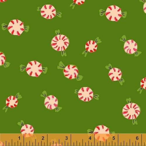 SugarPlum by Heather Ross Green Peppermints on Flannel