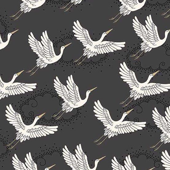 Kimono by Makower Cranes Grey