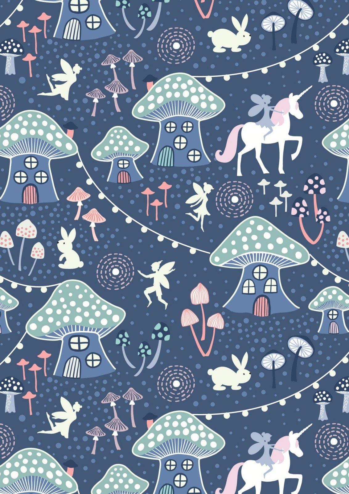 Mushroom Village on Midnight Blue