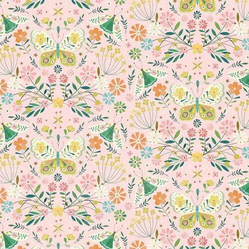 Hedgerow Floral Birds-Pink