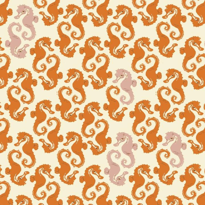 PREORDER - Heather Ross 20th Anniversary - Seahorses in Orange