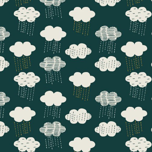 Midnight Garden Clouds Linen