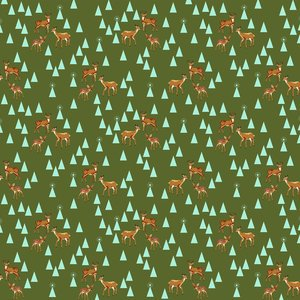 Tula Pink Holiday Homies Bambi Life Pine