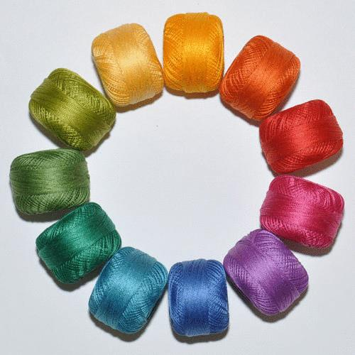 Perle Cotton Rainbow Thread Pack - size 3