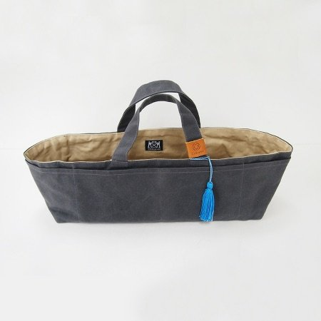 Waxed Canvas Work Bag, Gray with Blue Tassel