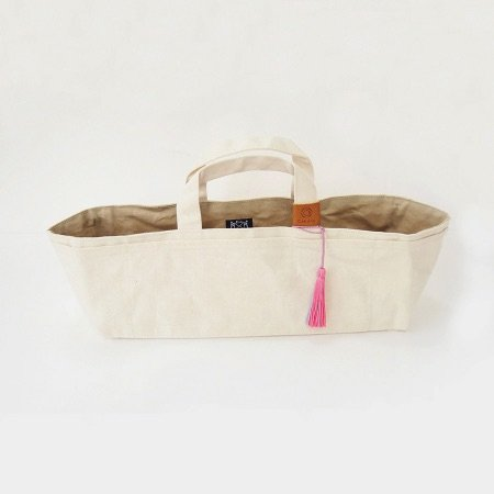 Waxed Canvas Work Bag, Natural with Pink Tassel