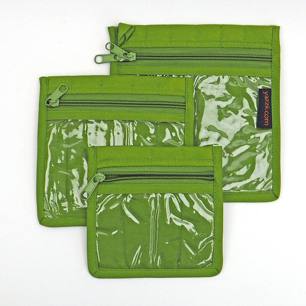 Yazzii Craft Pouches - Set of 3 - Green