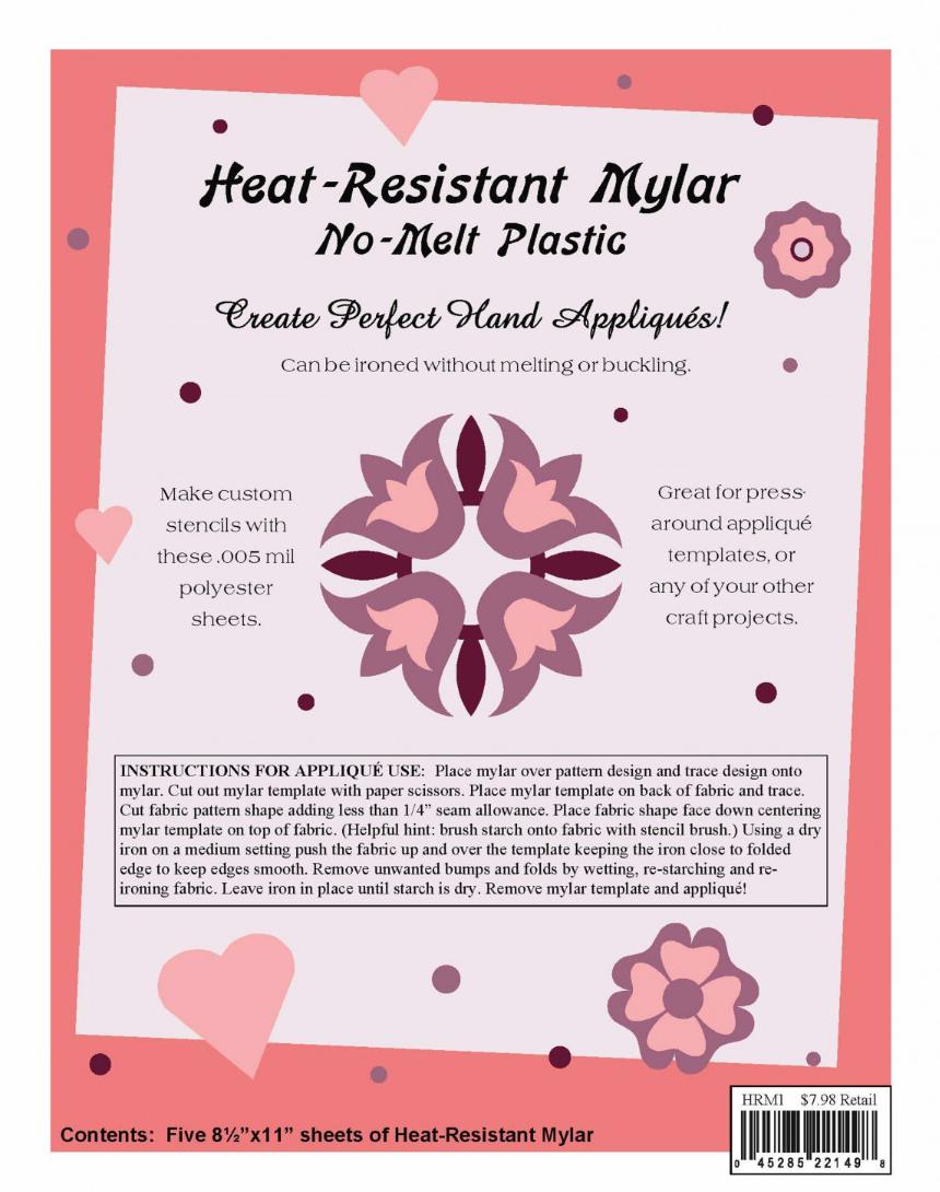 heat resistant mylar template sheet