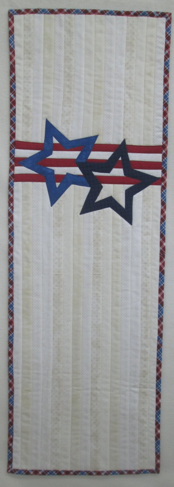 Stars & Stripes Forever Quilt as You Go Table Runner Finished Sample