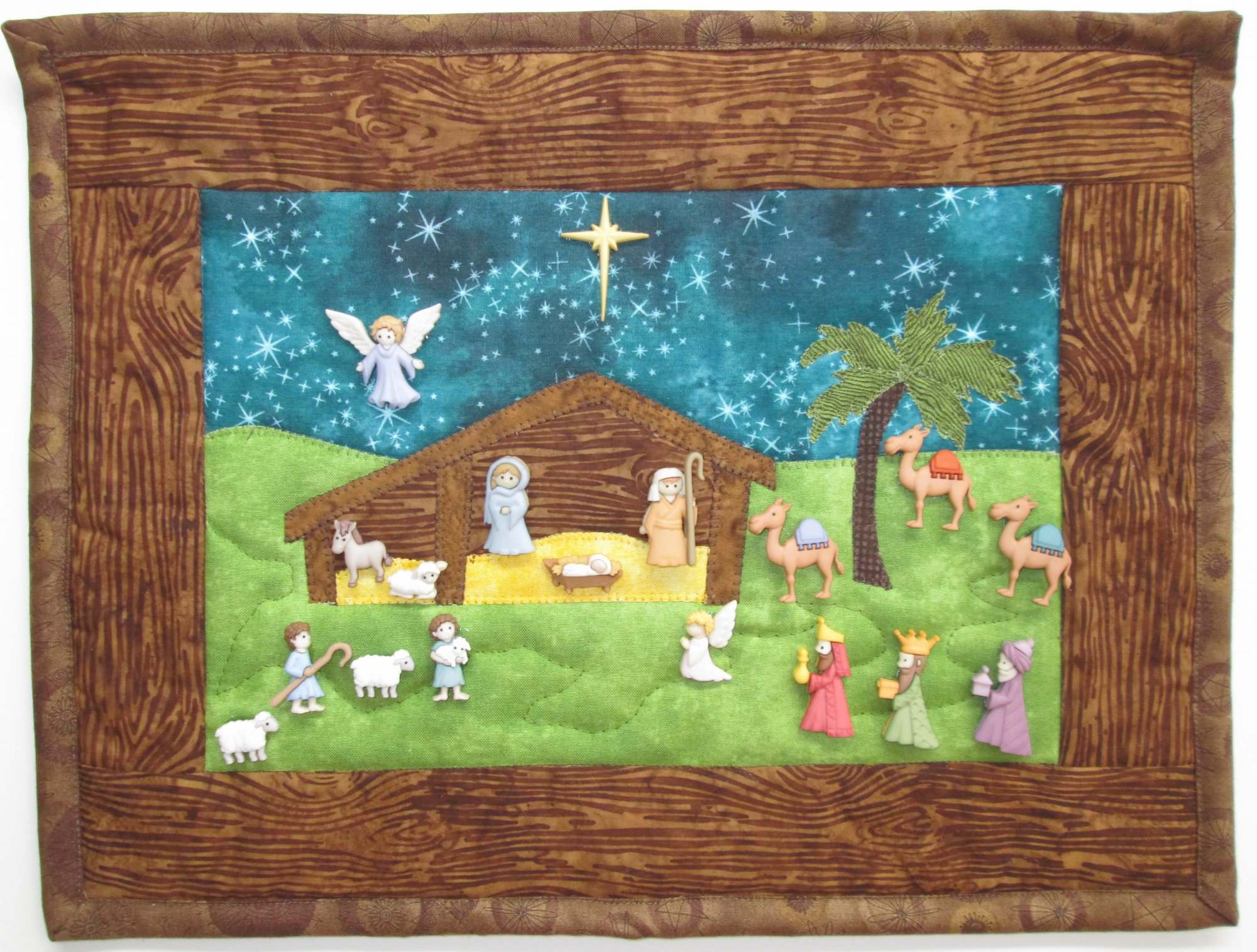 He Is Born! Nativity Wall Hanging Kit 10.5 x 14 includes binding buttons & pattern