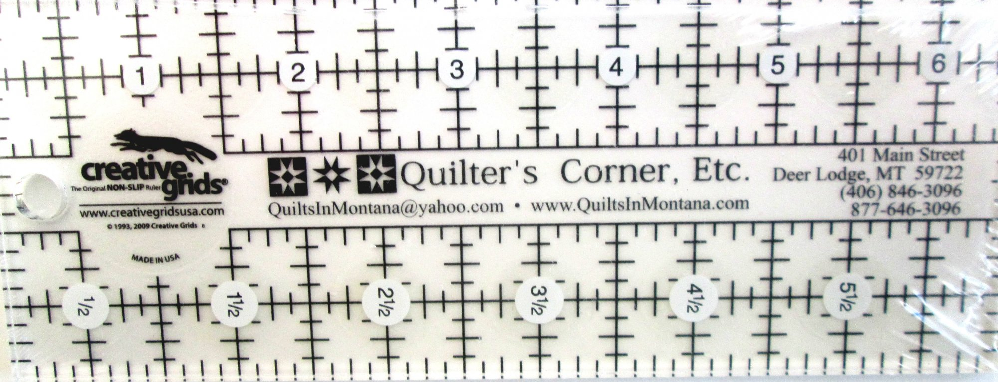 Creative Grids Personalized Quilters Corner 2 1/2 by 6 1/2 Ruler