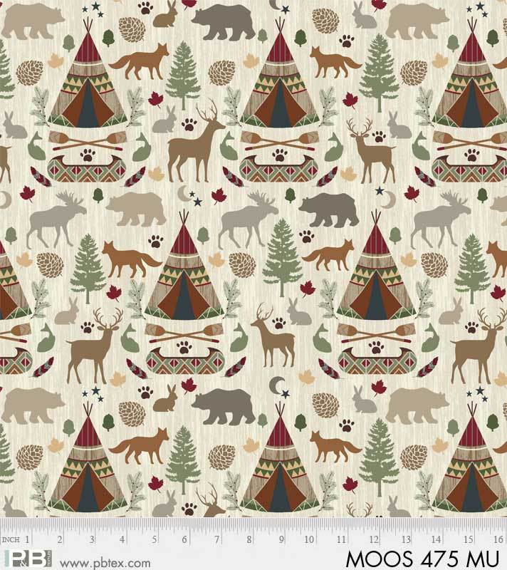 P&B Moose Meadows Flannel 00475-MU Large allover teepee, canoe, animals on cream