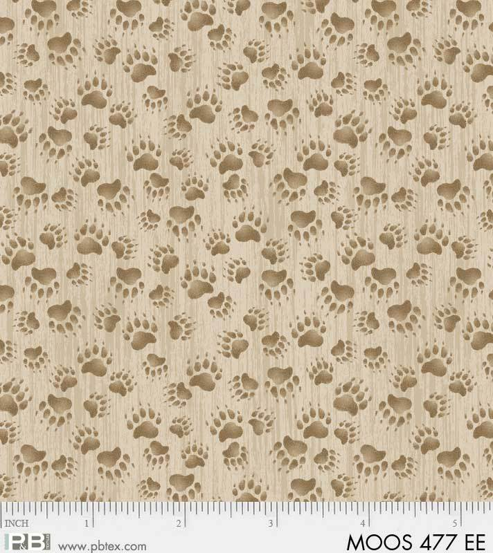 P&B Moose Meadows Flannel 00477-EE Tan Bear Prints