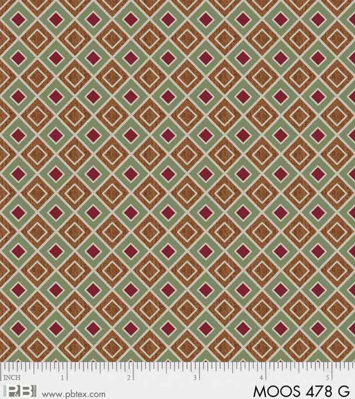 P&B Moose Meadows Flannel 00478-G Green/Red Geometric diamonds