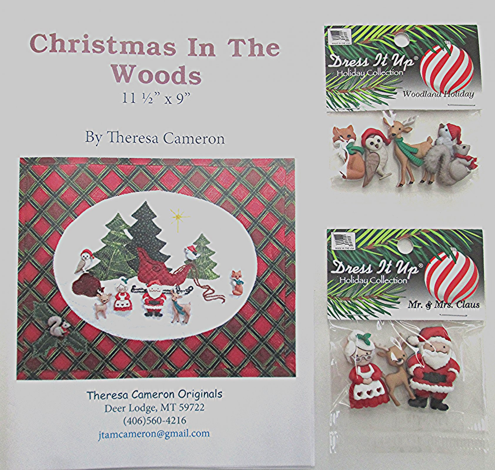 Christmas in the Woods Pattern with Buttons