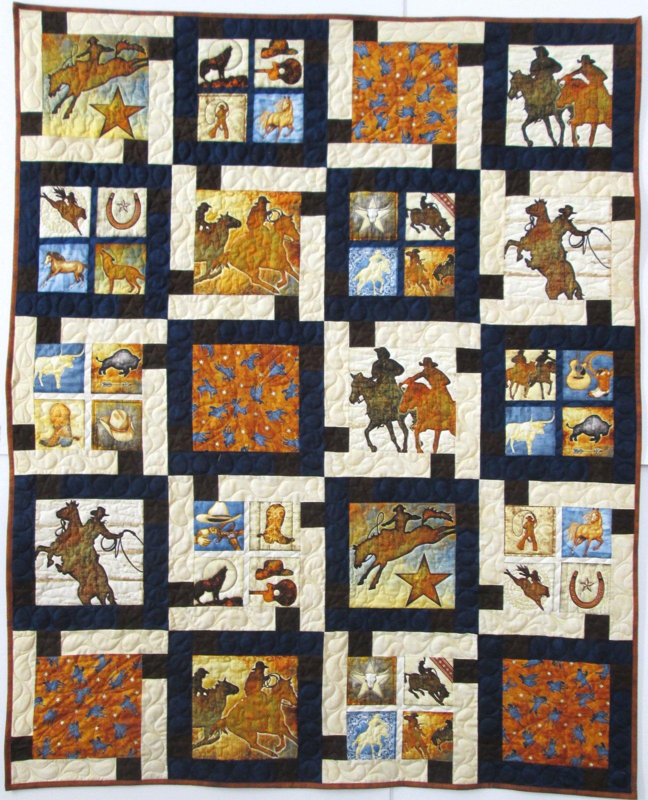 Mustang Sunset Block Talk Quilt Sample 54 x 68