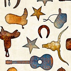 Quilting Treasures Mustang Sunset 26485-E Cream Wagon Wheel & Guitars