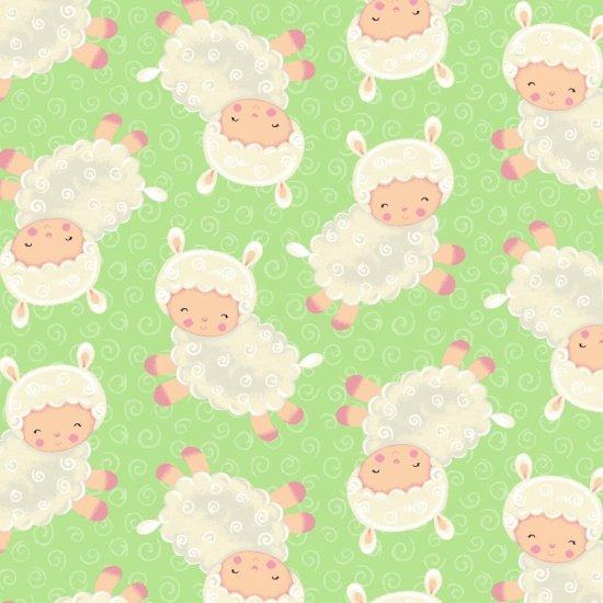 Blank Spring Fling 8377-066 Green tossed lambs  Easter
