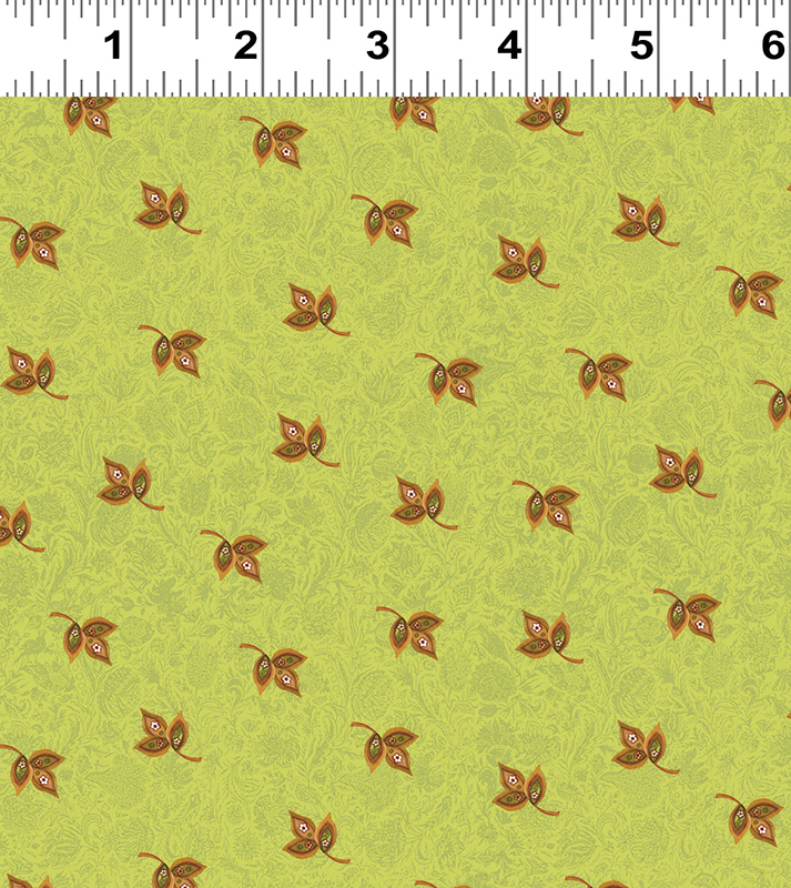 Clothworks Spice Garden Y2046-23 Green With Tiny Leaves By Sue Zipkin
