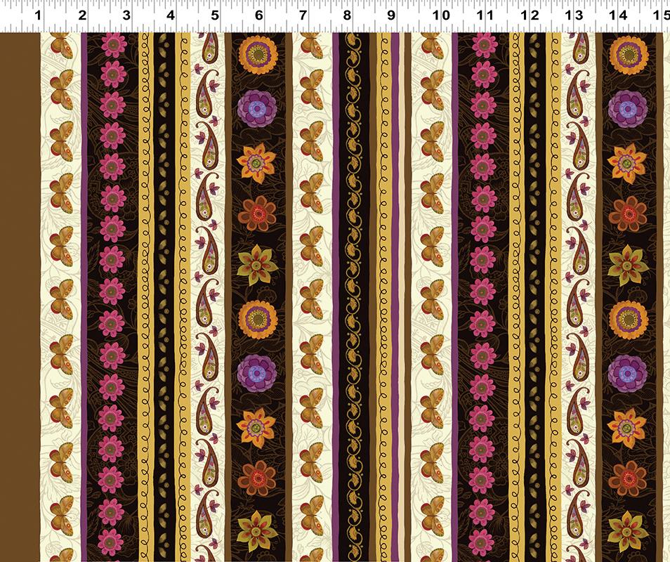Clothworks Spice Garden Y2041-15 Brown Border Stripe By Sue Zipkin