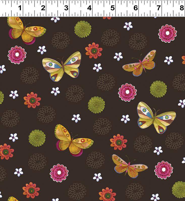 Clothworks Spice Garden Y2044-15 Brown With Small flowers & butterflies By Sue Zipkin