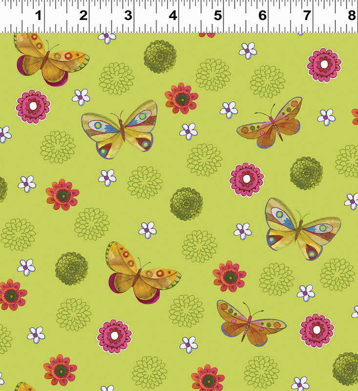 Clothworks Spice Garden Y2044-23 Green With Small flowers & butterflies By Sue Zipkin
